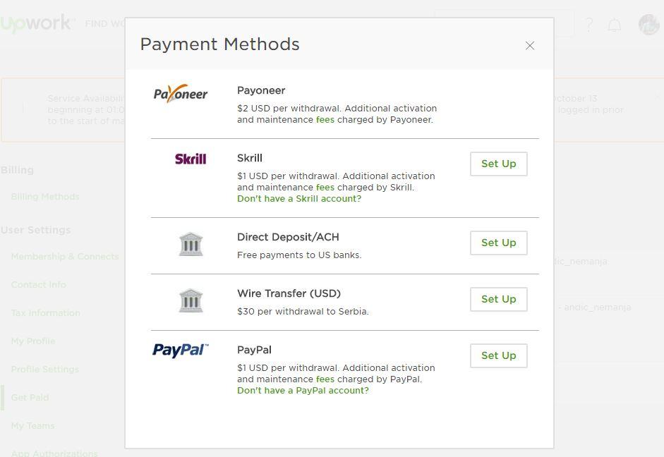 upwork metode placanja, prebacite novac na karticu